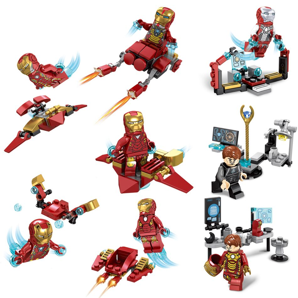 Blocks Inventive Dr.tong 8pcs Super Heroes Legoingly Iron Man Deadpool Wasp Hulk Thor Thanos Loki Action Figure Building Blocks Toys For Children Special Buy Model Building