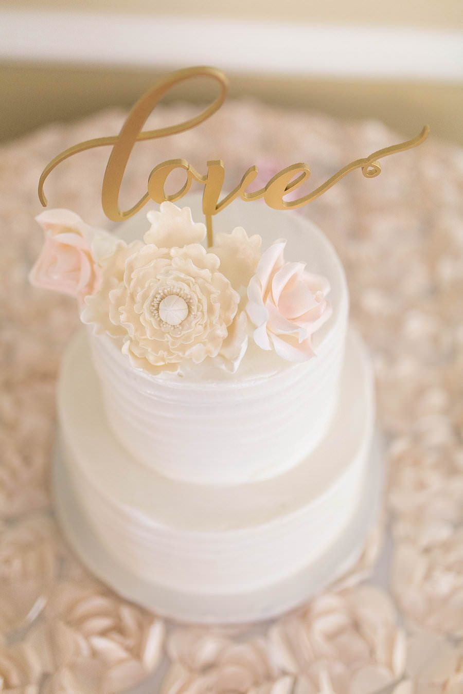 Two Tiered, Round, White Wedding Cake With Gold Love Cake Topper | Tampa  Bay Wedding Cake Baker Olympia Catering