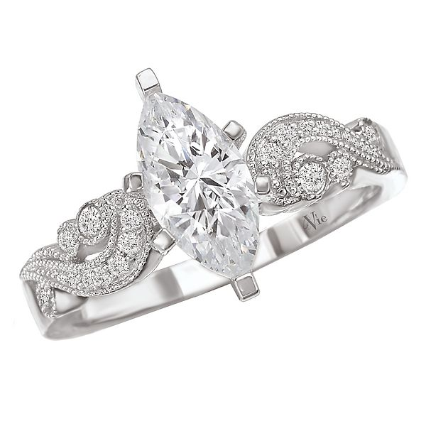 LaVie Engagement Ring swirl design diamond 14kt white gold