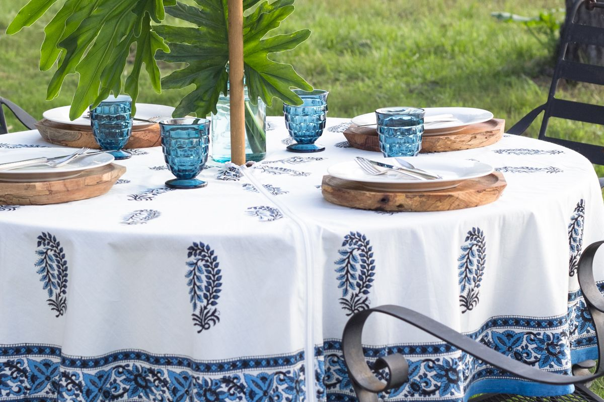 Beautiful Printed Patio Tablecloth With A Hole And A Zipper