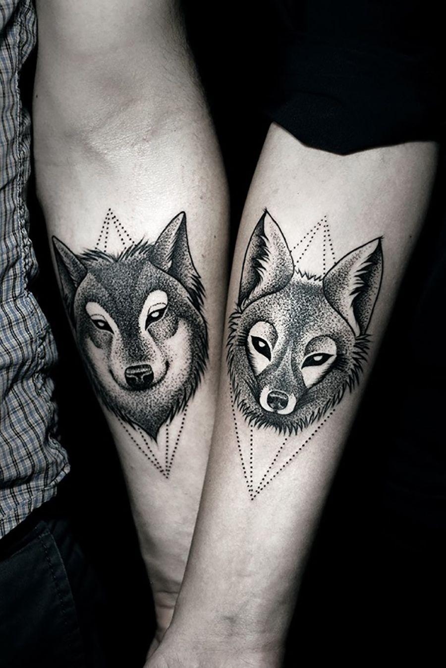bbf2a9298 55 Wolf Tattoo Designs   Couple Tattoo Ideas   Wolf tattoos, Couple ...