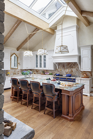 Vaulted Ceiling Kitchen Island French Stove Custom