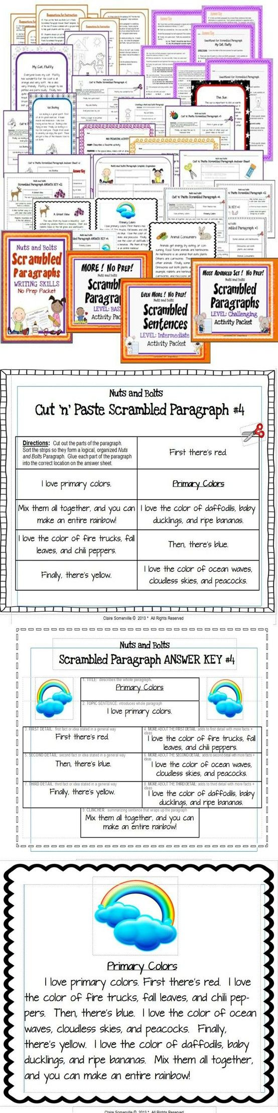 medium resolution of Scrambled Paragraphs 4-in-1 BUNDLE Activity Packets   Paragraph writing  activities