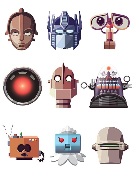 Famous Robots by Daniel Nyari One of them is not a robot, it's Cartman in disguise.