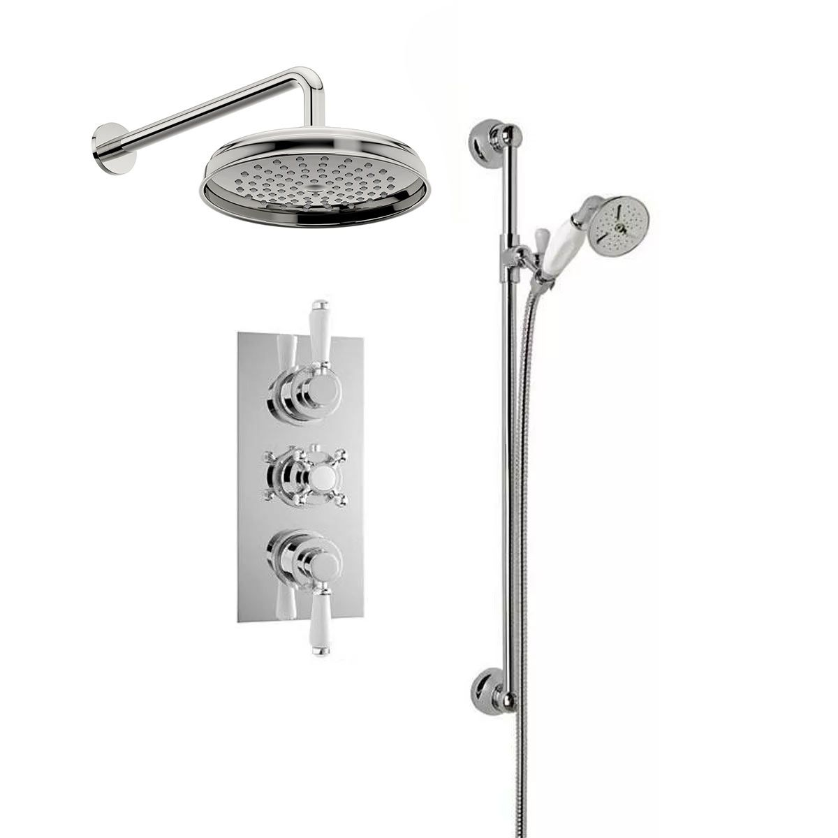 The Bath Co. Traditional thermostatic triple shower valve complete ...