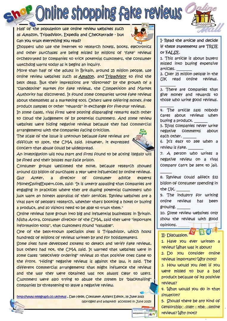 - Online Shopping Fake Reviews Teaching Reading Comprehension