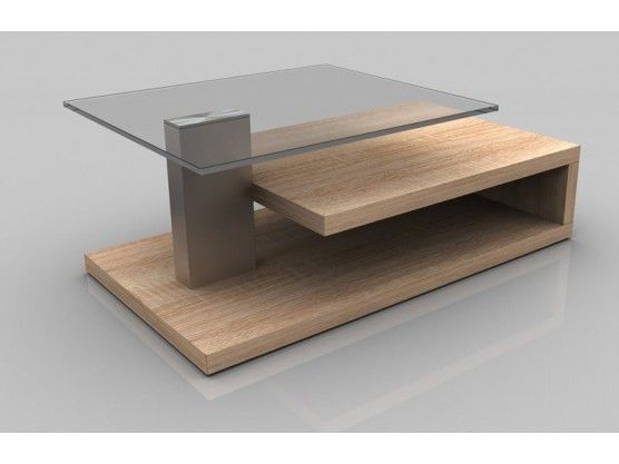 Table Basse Design Chene Claire Avec Plateau En Verre Matt Table Basse Design Plateau En Verre Table Basse