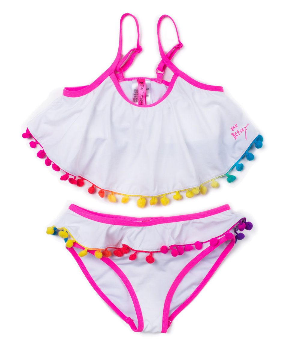 db5da648fd Take a look at this Betsey Johnson Kids White & Red Pom-Pom Bikini ...