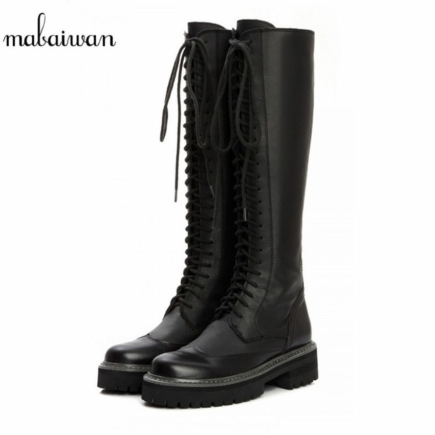 2e83bb1b61b8 Vintage Black Women Knee High Boots Lace Up Side Zipper Botas Militares  Flat Long Boots Thick Heel Flat Motorcycle Boot