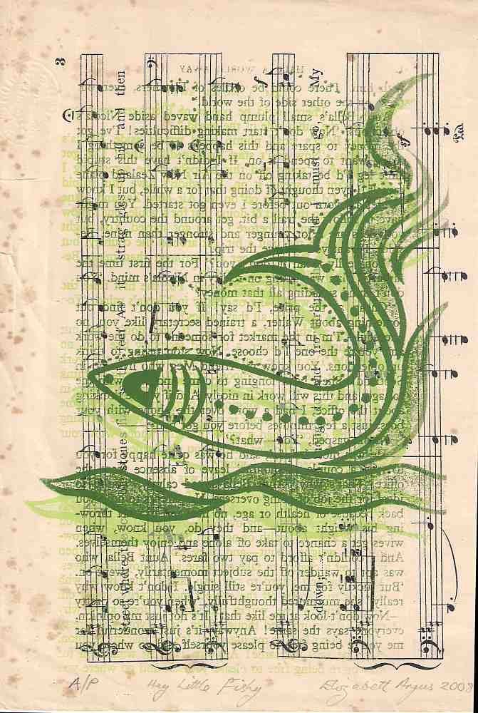 Fish wall art, fishes wall art, green fish Screen print, sheet music ...