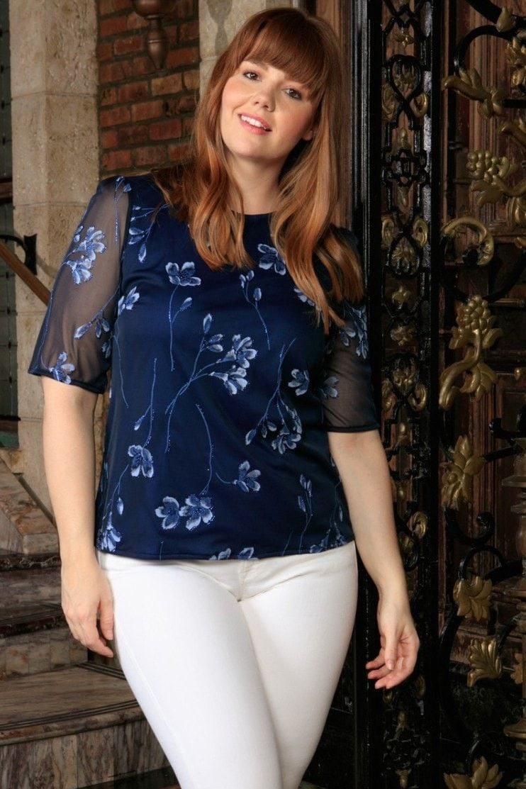 Navy Blue Floral Elbow Sleeve Evening Sexy Dressy Curvy Top Plus