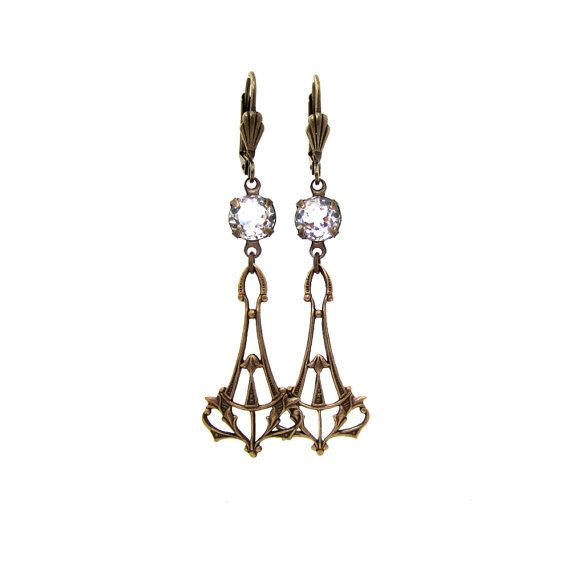 Art Deco Earrings  Bridal Jewelry  Crystal Clear by ArxRosarum, €24.00