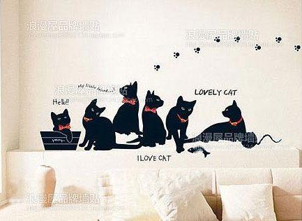 gratis verzending fashion diy zwarte kat familie woonkamer ...