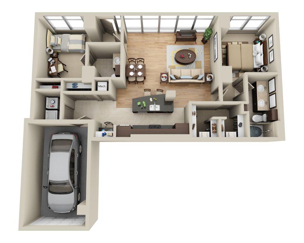 Live Work 2 Apartment Layout House Plans Interior Design Plan