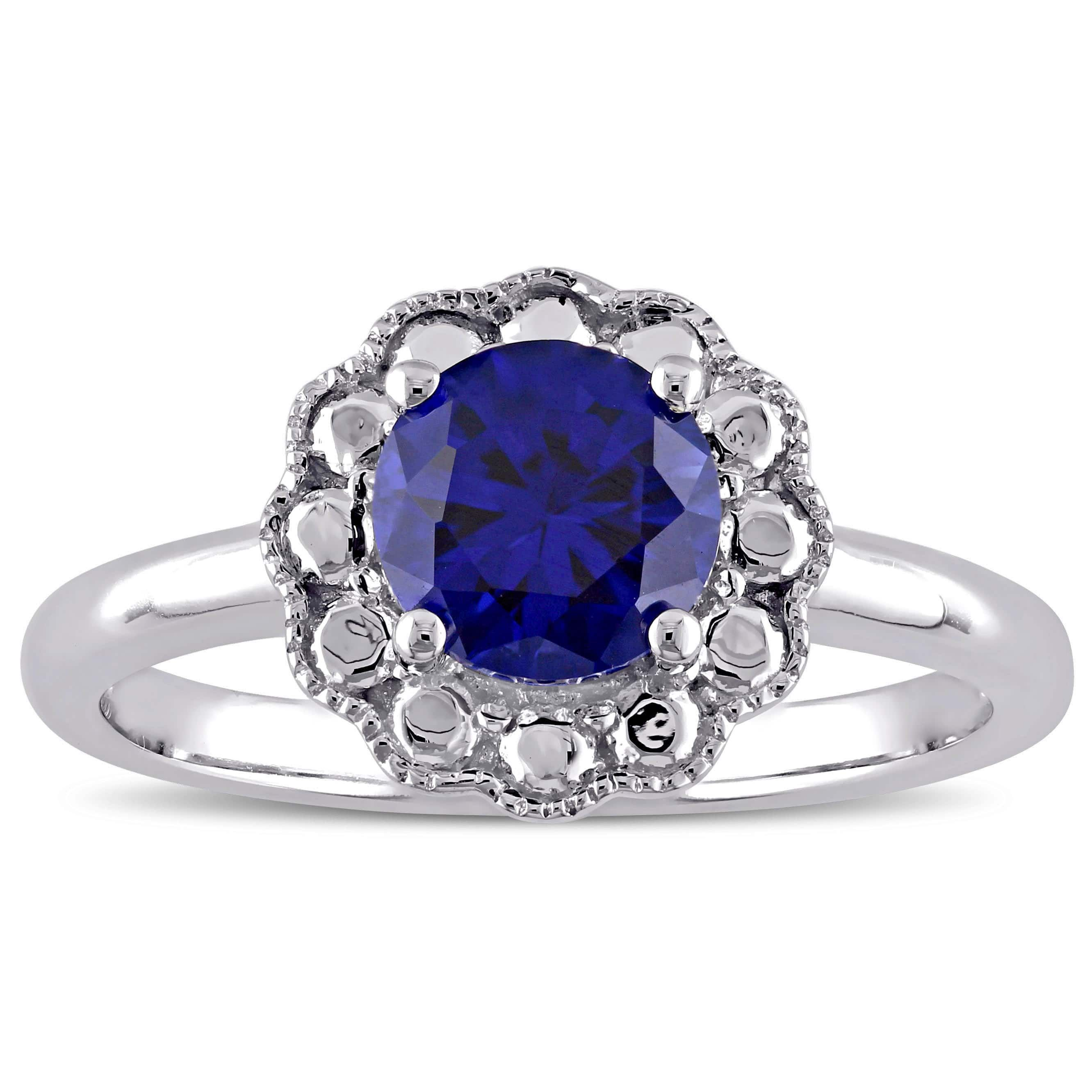 2d6bb8b87 Miadora 10k White Gold Created Blue Sapphire Birthstone Halo Ring (Size 7)