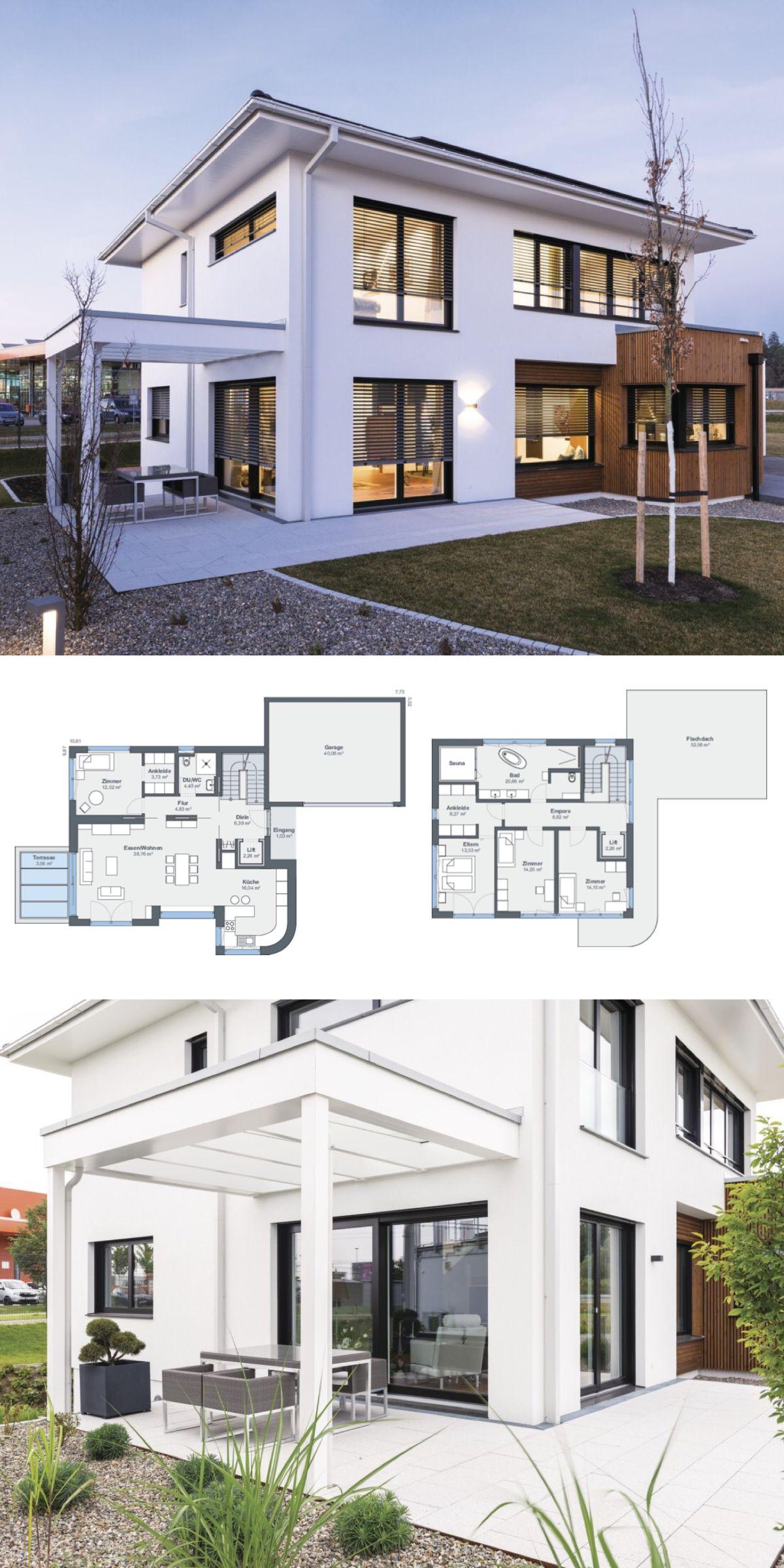Stadtvilla Neubau Modern Mit Garage, Pergola U0026 Walmdach Architektur   Haus  Bauen Grundriss Ideen Fertighaus