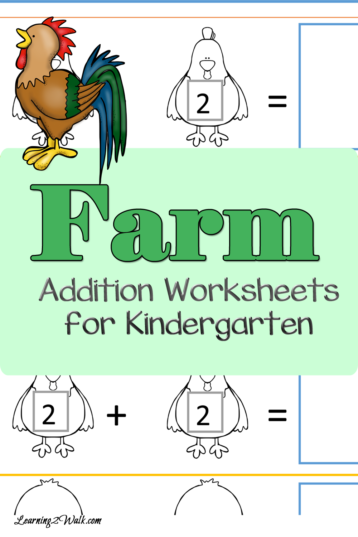 Cut and Paste Farm Addition Worksheets for Kindergarten