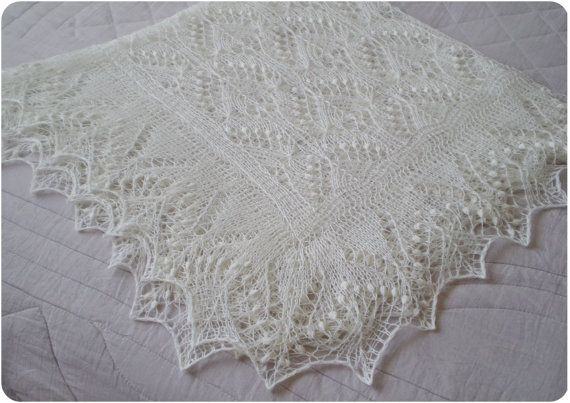 Knit Christening Shawl Baptism Shawl Baby Shower Gift