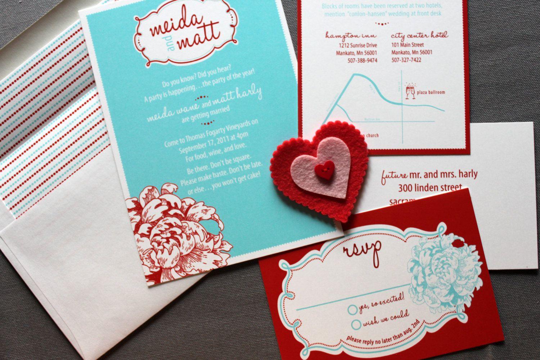 Retro Love Wedding invitation shown in Red and Aqua- FREE shipping ...