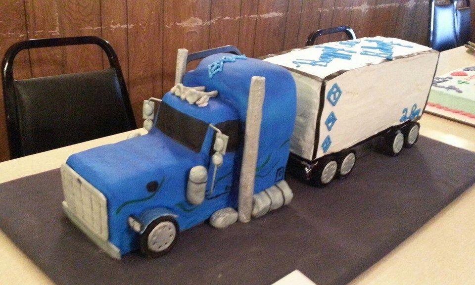 Astonishing Semi Truck Cake 18 Wheeler Cake With Images Truck Cakes Semi Funny Birthday Cards Online Alyptdamsfinfo