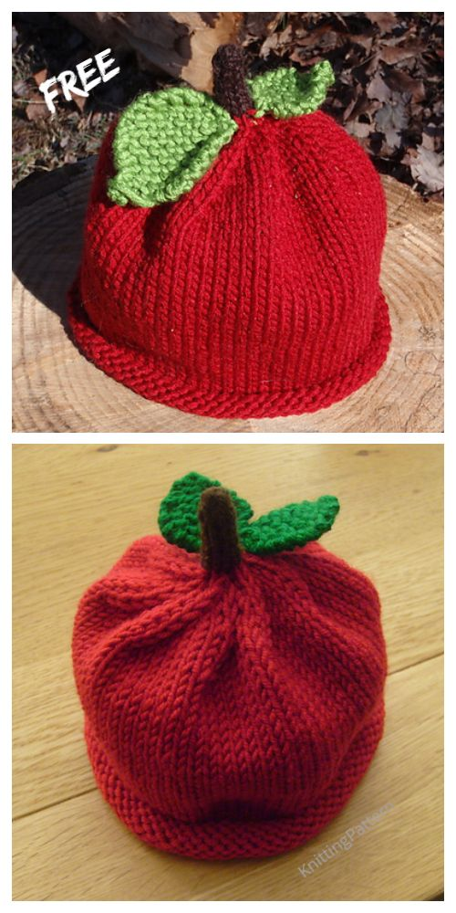 Knit Apple Hat Free Knitting Patterns | Knitting, Baby ...