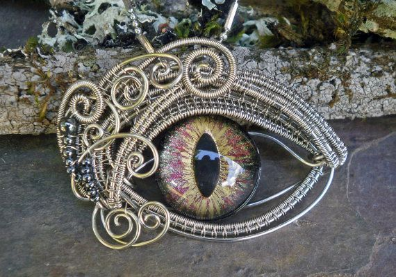 Gothic Steampunk Evil Cat Eye Pendant by by twistedsisterarts
