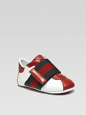 9809233d7f99 Gucci Infant s Leather Signature Web Grip-Tape Sneakers