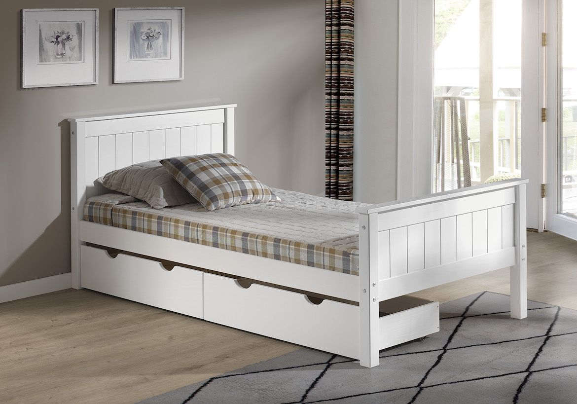 The Harmony Twin Bed w/ Storage Drawers comes complete