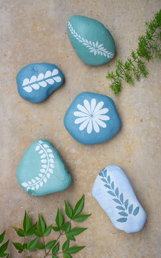 Chalk Paint Stenciled Garden Rocks