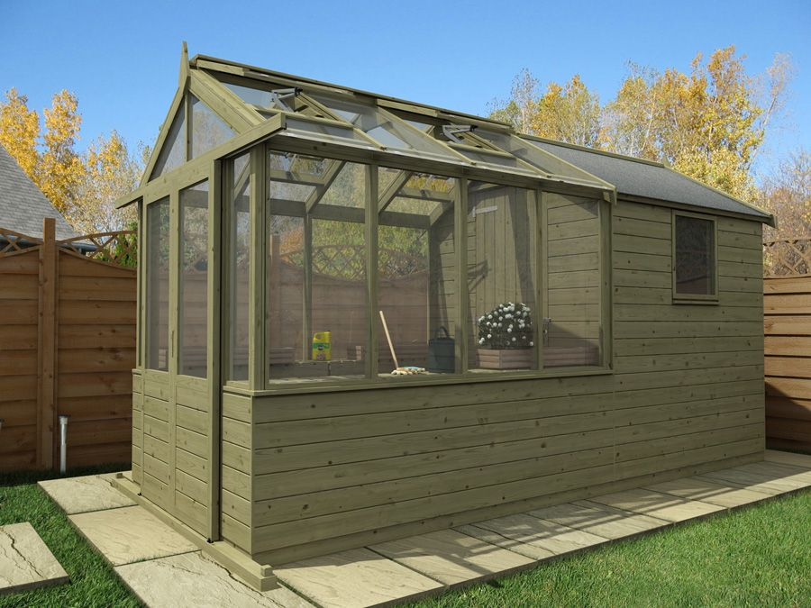 Elmby 420 Jpg 900 675 Pixels Potting Area She Shed Fire Pit. Centaur Shed  Combo Greenhouse With ...