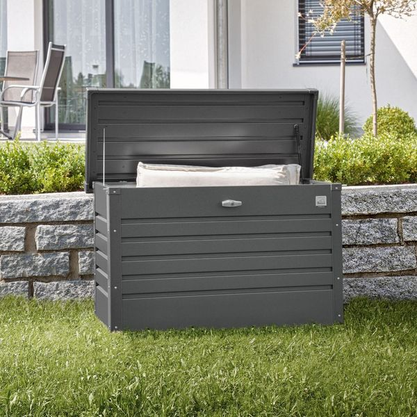 Leisure Time 100 Grey Galvanised Steel Garden Storage Box W101cm is part of Steel garden Boxes - Acm Overall Height 61cm (2ft) Weight 17kg Panel Thickness 0 5mm Guarantee 20years