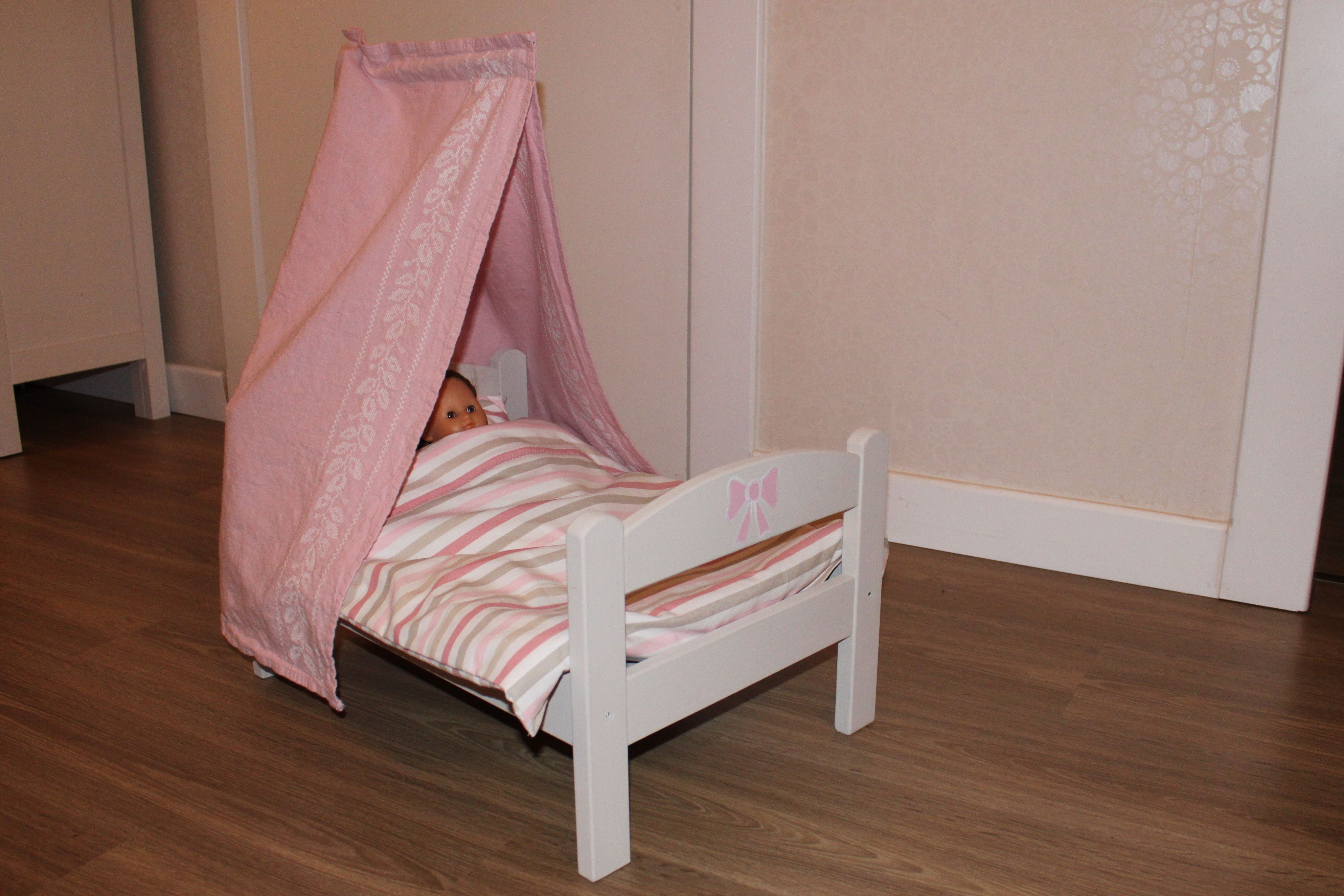 birthday present for my little daughter  a customized doll bed with canopy (proud of myself!)