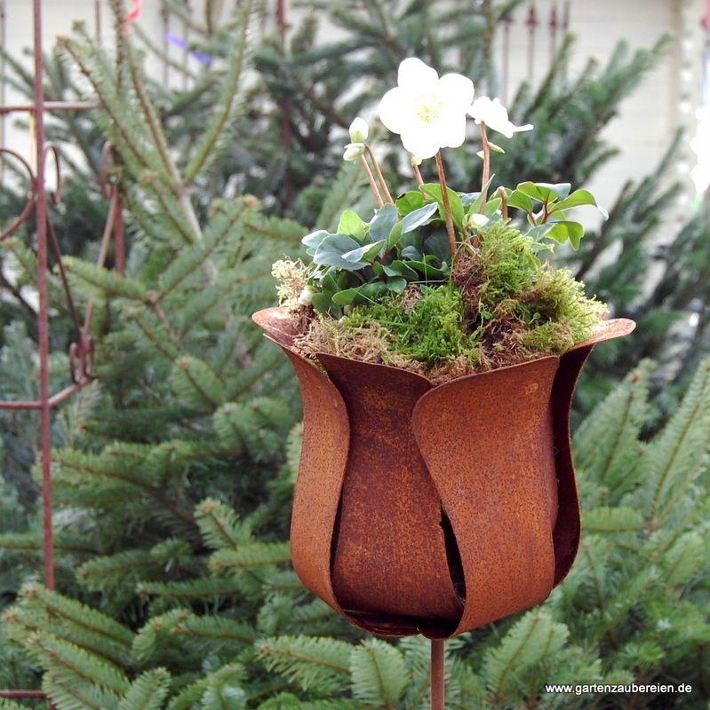 Edelrost tulpe zum stecken gro rost deko pinterest for Metall sonne gartendeko