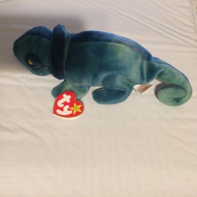 Ty Beanie Baby RAINBOW tie dye Chameleon Iguana 1997 Mint w  Tag ... 3f0e7cacd3ce