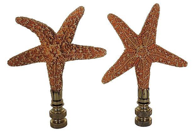 Starfish Lamp Finials Pair On Onekingslane Com Lamp Finial Finials Crystal Lamp