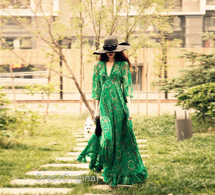 Bohemian Green Boho Dress