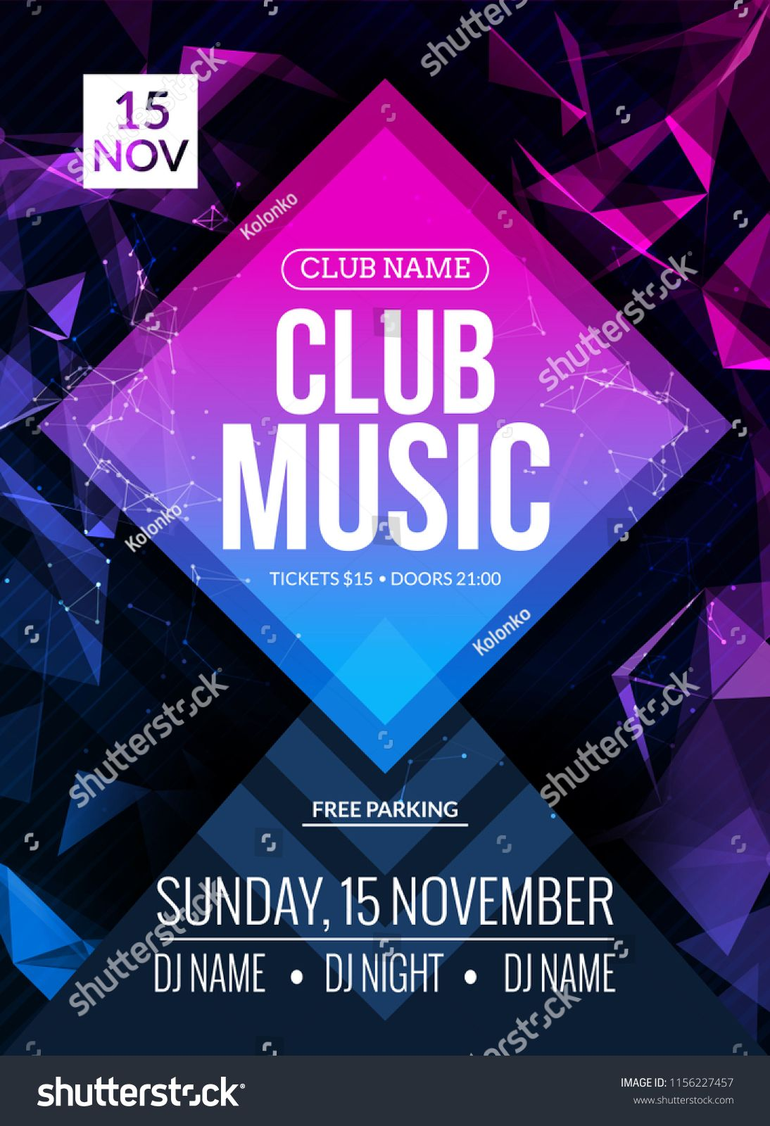Night Club Dance Party Poster Concert Background Template Vector