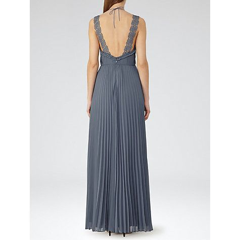 Buy Reiss Sicily Pleated Maxi Dress, Grey Blue Online at johnlewis.com