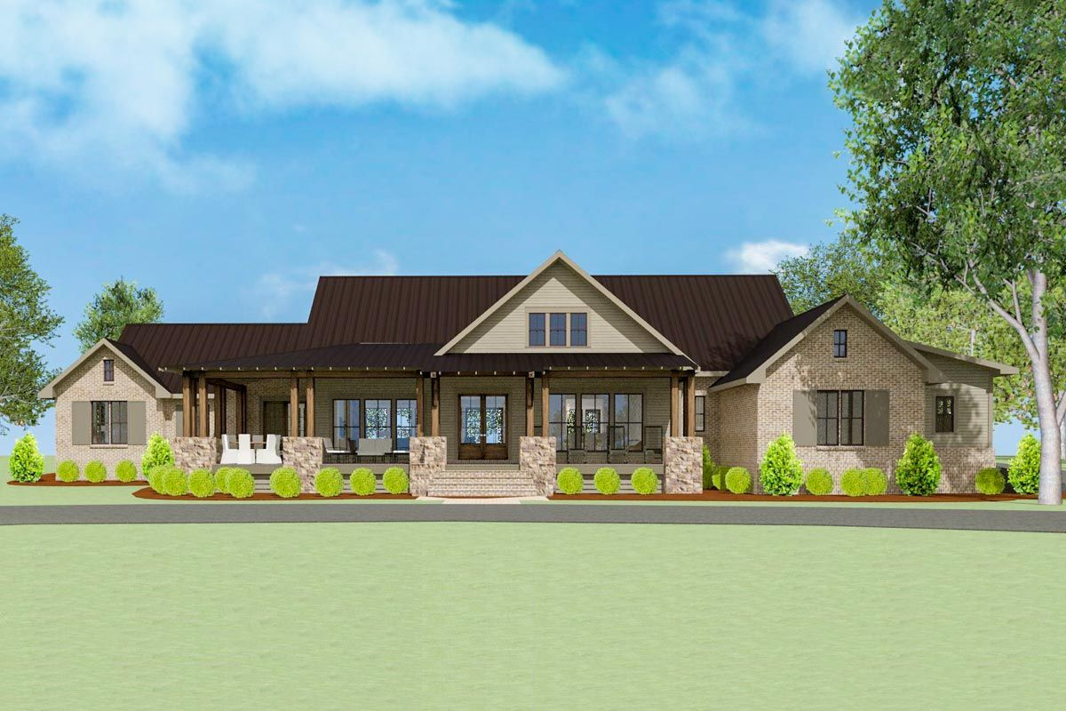 Plan 130035lls Stunning 5 Bed New American House Plan With Game Room American Houses One Level House Plans House Plans
