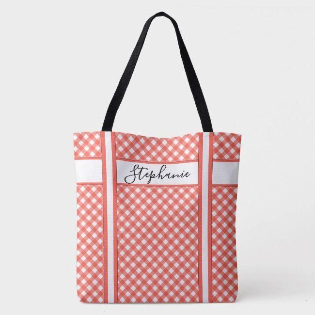 Coral Gingham Checks Pattern Geometric Tote BagFun Coral Gingham Checks Pattern Geometric Tote Bag cFold Travel Duffle Mesh Tote with Bottom Cooler Compartment Vineyard V...