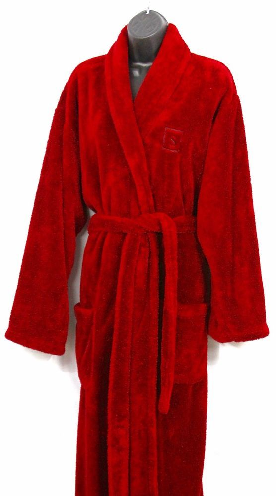 Pottery Barn Bathrobe Robe Long Belted Womens Red