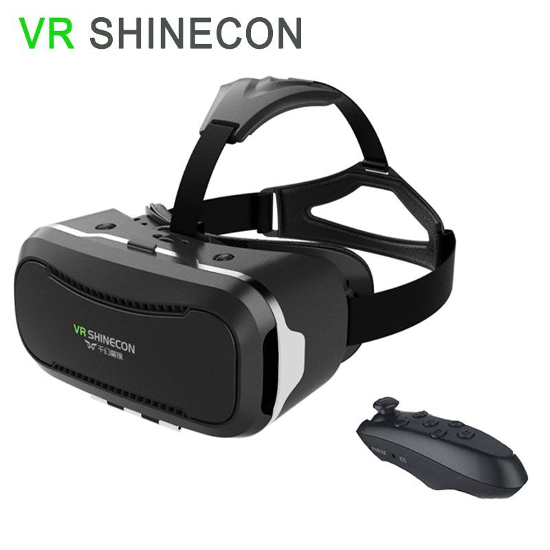 """SHINECON VR 3D Glasses 2.0 Google Cardboard Virtual Reality Headset for 4.7""""~6.0"""" Phone 3D Video + Wireless Bluetooth Remote"""