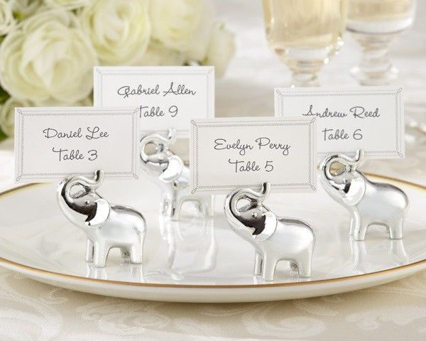 Lucky in Love Silver-Finish Lucky Elephant Place Card Photo Holder (Set of 4)