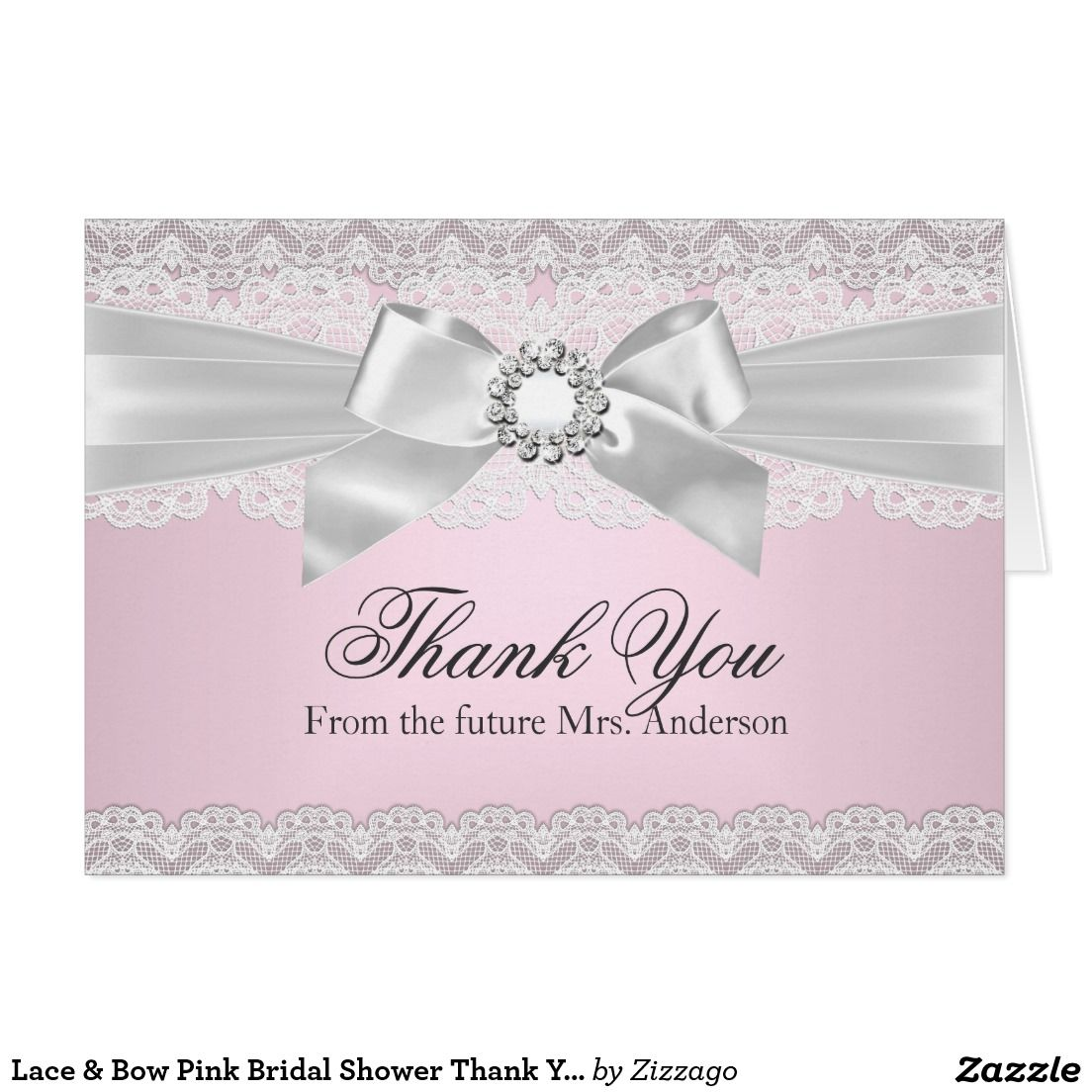 Lace Bow Pink Bridal Shower Thank You Card Bridal Shower Thank