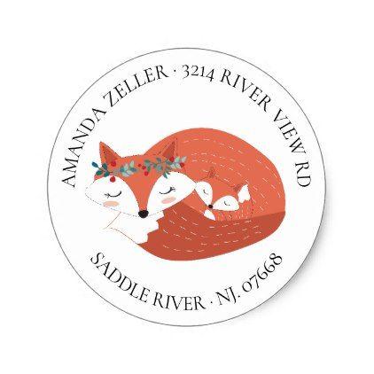 Woodland Fox Baby Shower Return Address Label   Zazzle.com ...