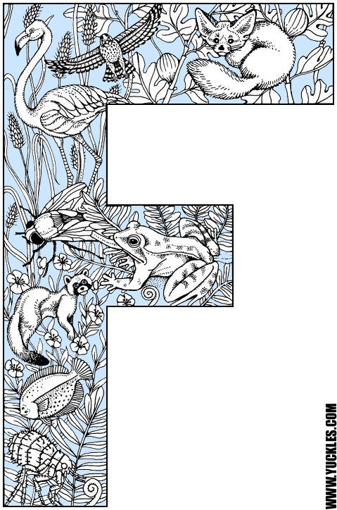 Alphabet Coloring Page F ALPHABET NUMBERS Pinterest