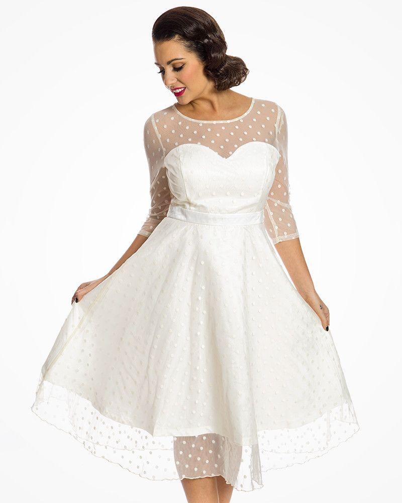 Abigail Ivory Polka Dot Swing Occasion Dress Kleider Braut Brautkleid