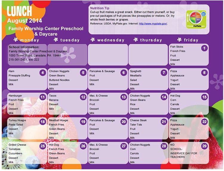 Daycare menu 2 Oct | Daycare - Decor - Inspiration | Pinterest ...