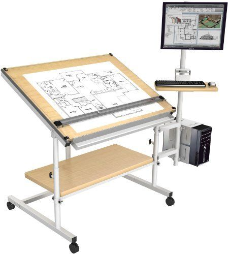Home Drafting Table 48 X 36 Gray Frame Maple Surface By Versatables Com 499 00 Home Drafting Table Drafting Table Vintage Drafting Table Architects Desk