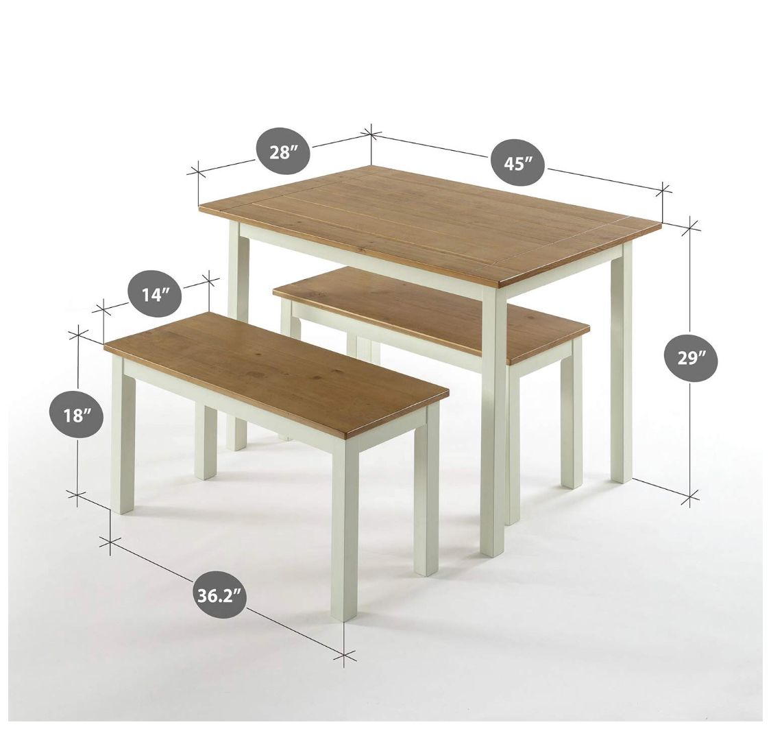 Small space table and benches farmhouse dining table set